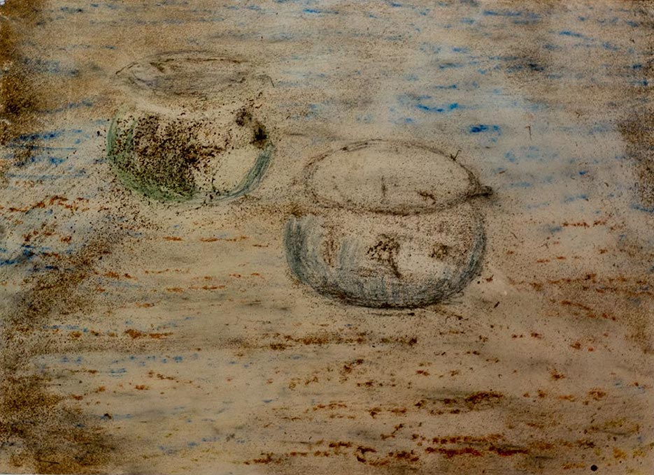 Elaine Shemilt Cooking Pots 2 Mixed media drawing on paper © Cultural Documents 2014