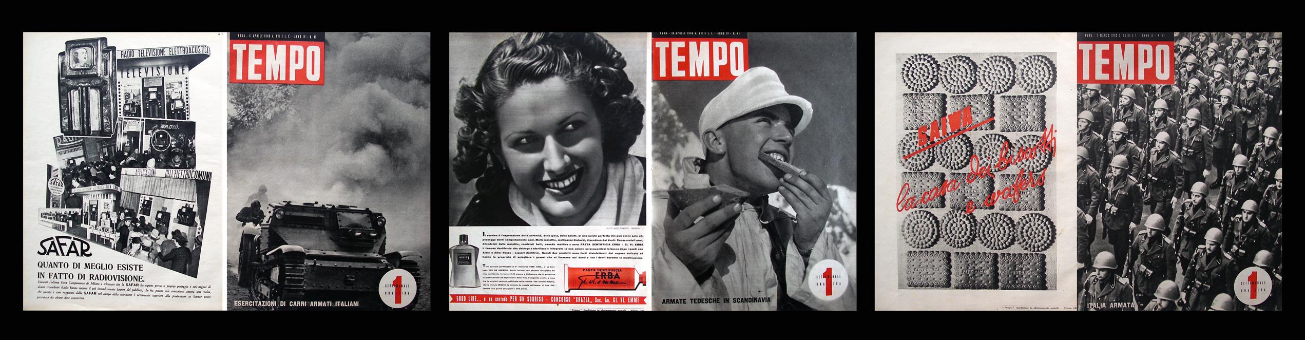 Fausto Colevacchia 'Tempo' pagine originali di riviste del 1940 incorniciate 2010 180 x 43cm (trittico) © Cultural Documents