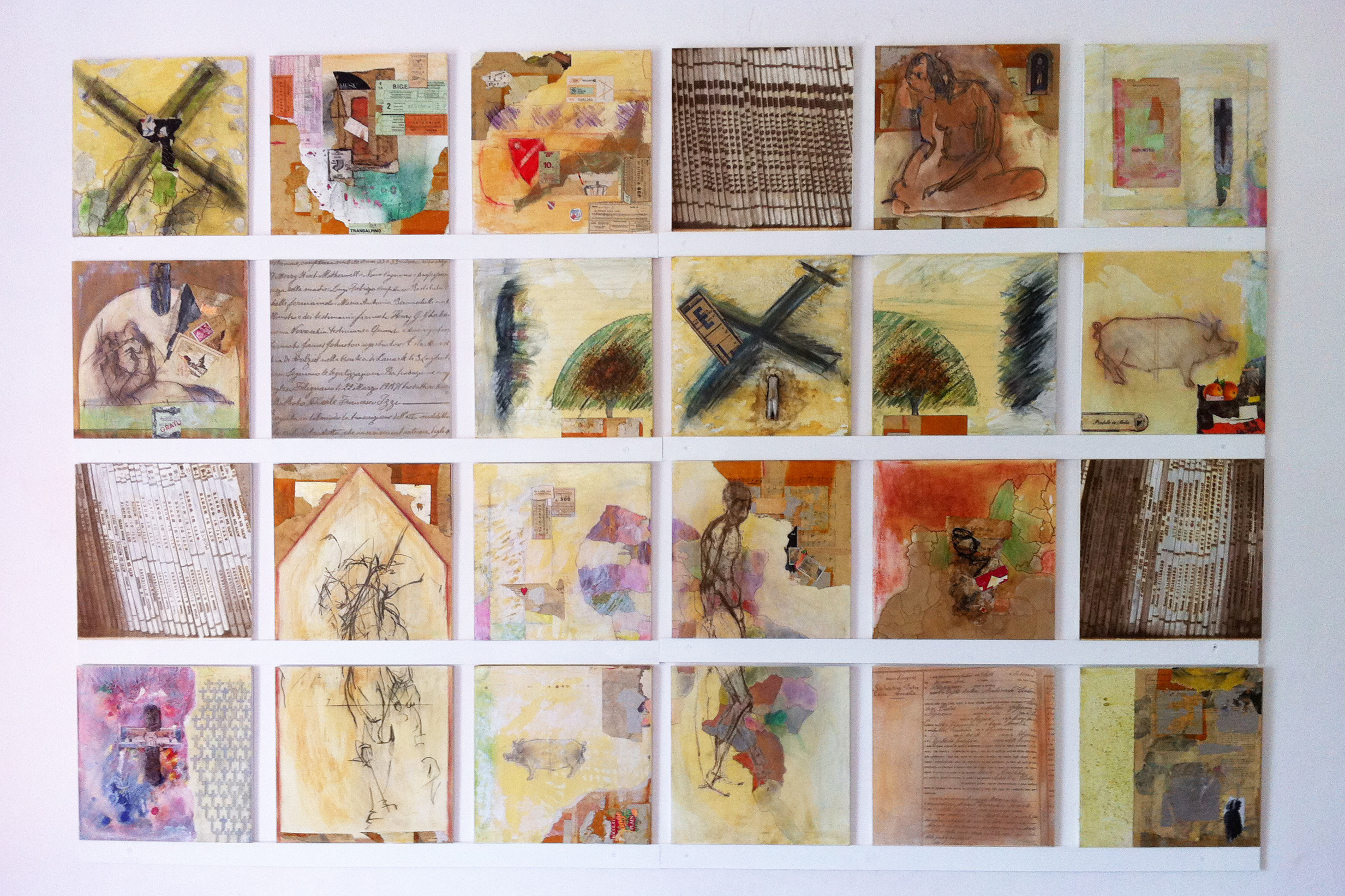Elaine Shemilt 'The Function of Dreams' Mixed media on board Single work comprising twenty-four panels 2012 205 x 135cm Collezione Angela e Tonino Buono © Cultural Documents
