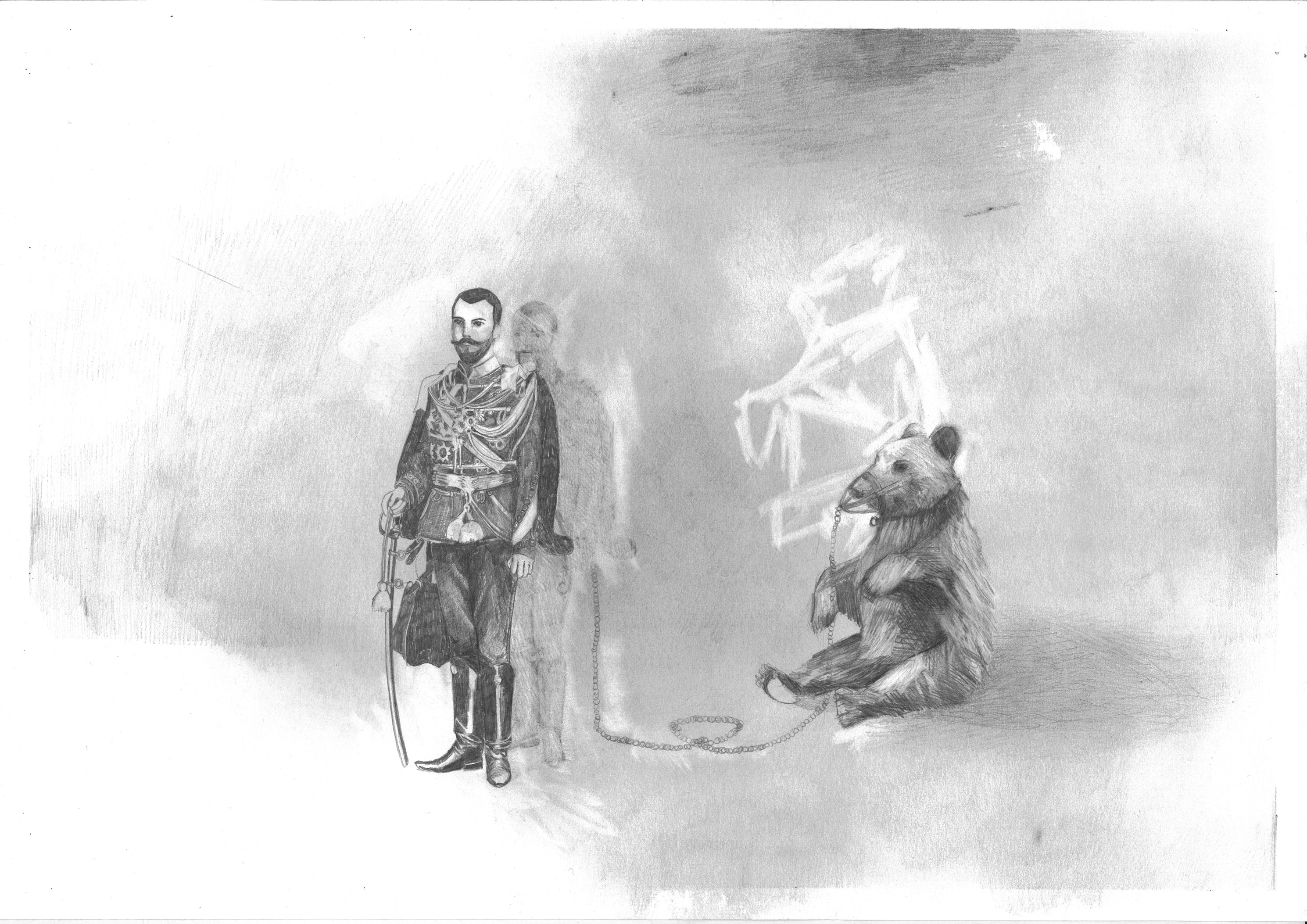 Danny Holcroft 'Tsar Nicholas II and the Bear' pencil on paper 30 x 42cm 2015 © Cultural Documents