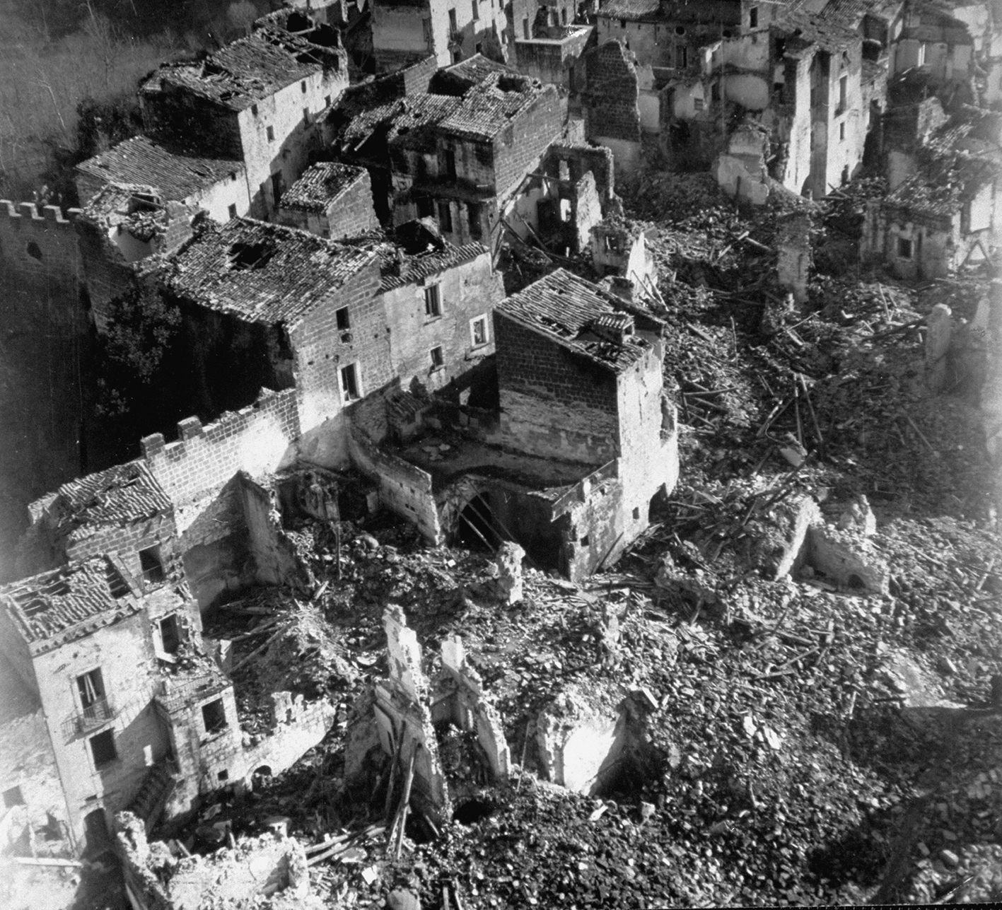 Aerial view of devastating ruins of this small town after it was shelled by Allies & then the Germans before it was captured on Dec. 12, 1943 by the Americans..  (Photo by Margaret Bourke-White/The LIFE Picture Collection/Getty Images)