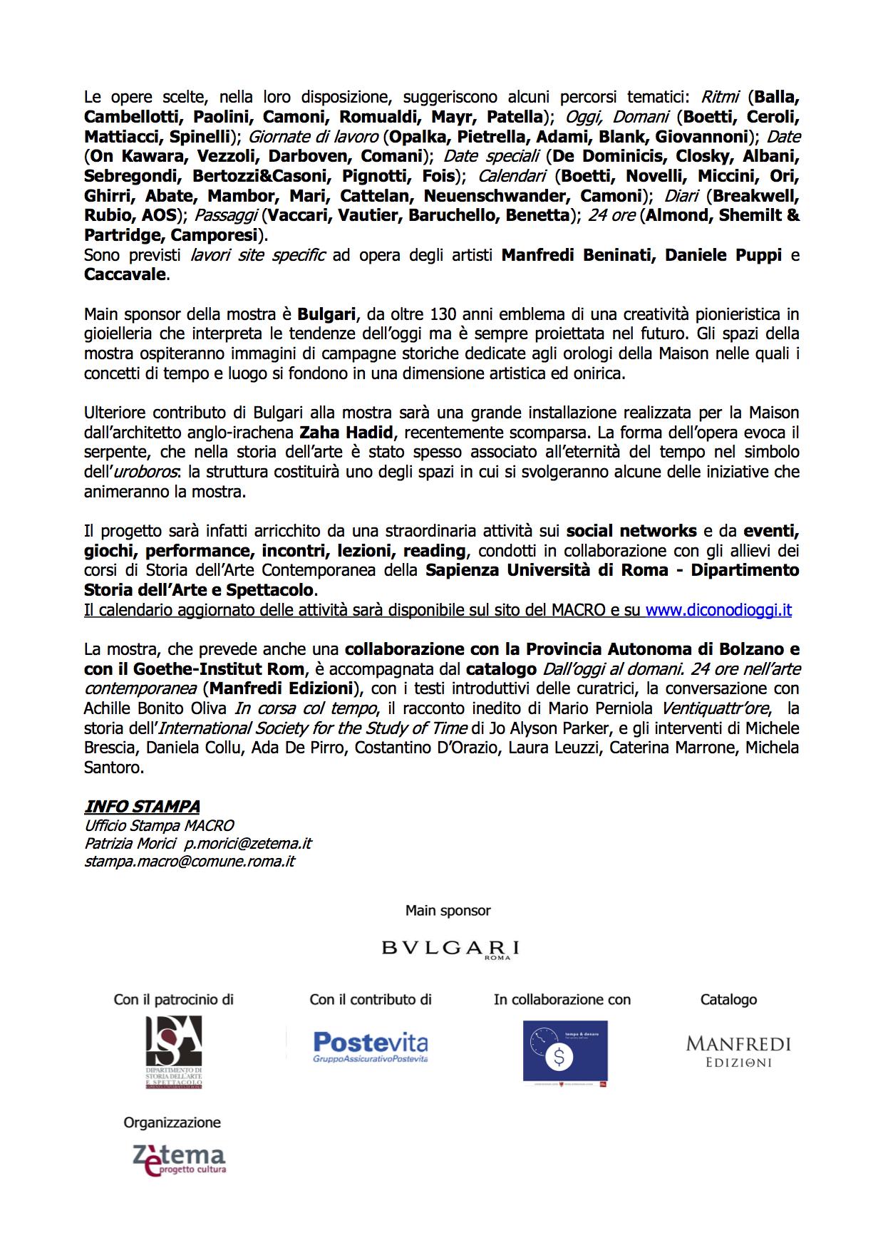 page 2 of 3 Press Release for exhibition 'Dall'oggi al domani. 24 ore nell'arte contemporanea' at  MACRO Via Nizza, 01 May - 02 October 2016 © Cultural Documents