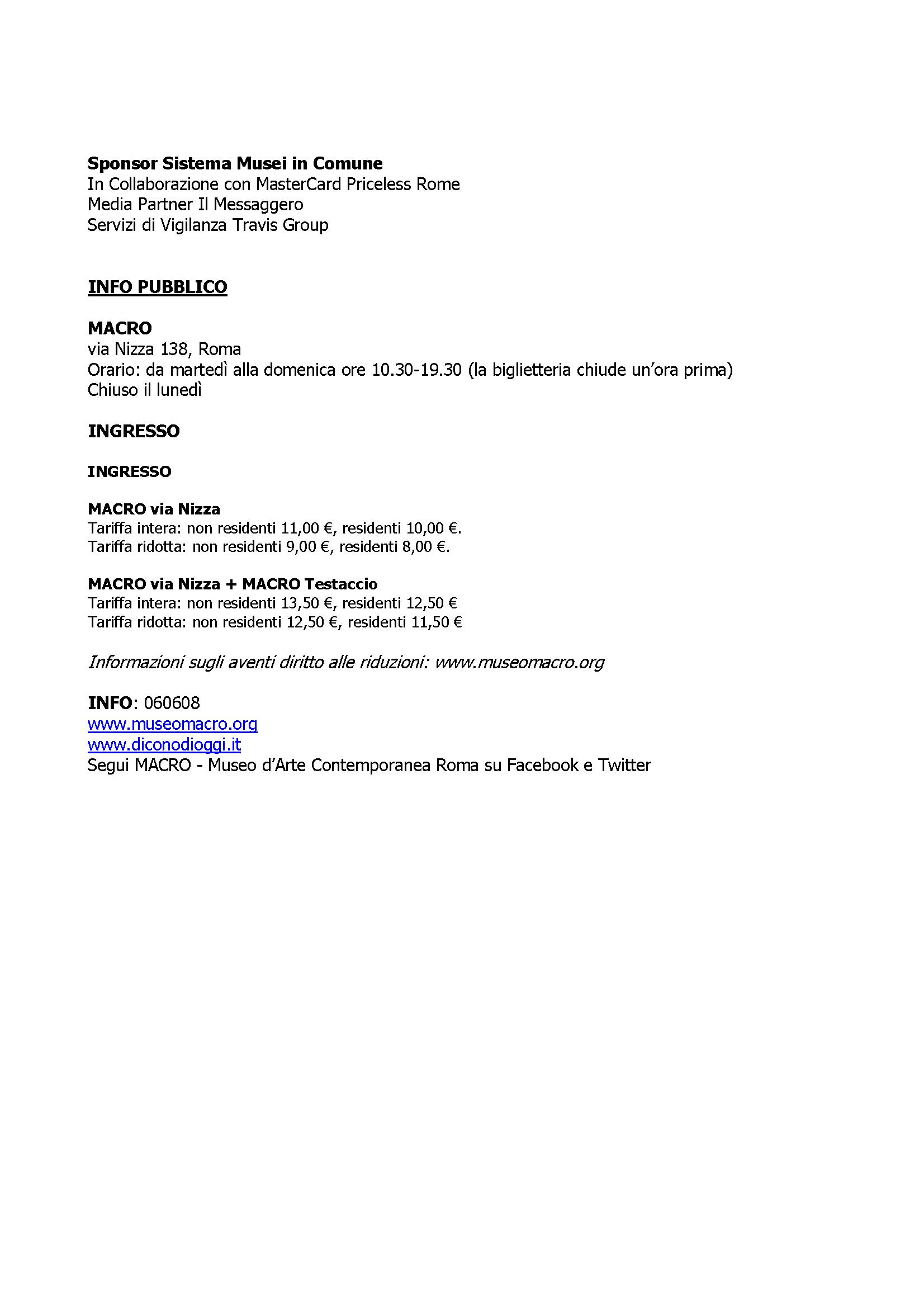 page 3 of 3 Press Release for exhibition 'Dall'oggi al domani. 24 ore nell'arte contemporanea' at  MACRO Via Nizza, 01 May - 02 October 2016 © Cultural Documents