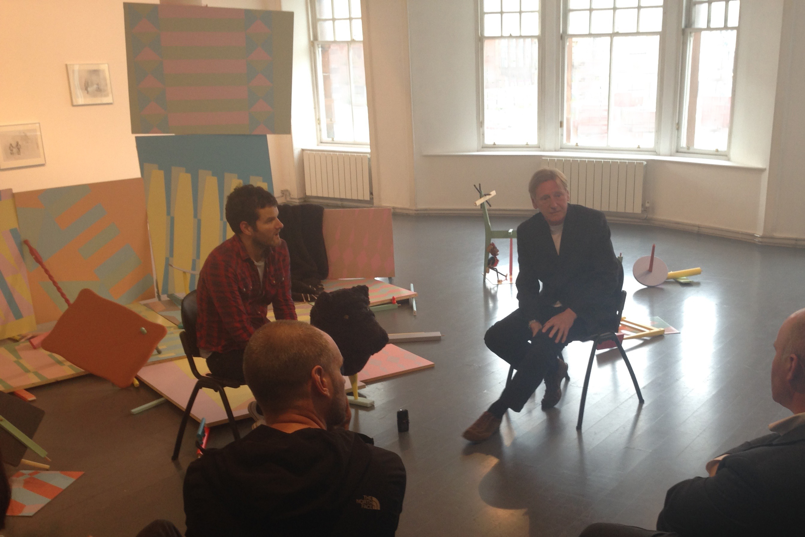 images of the discussion between artist Danny Holcroft and GSA MFA Director John Calcutt at 'Lost in Translation' 12 to 18 June 2016 An installation of drawings, paintings, sculptures, performance and video by Danny Holcroft at The Project Room, Trongate 103, Glasgow © Cultural Documents