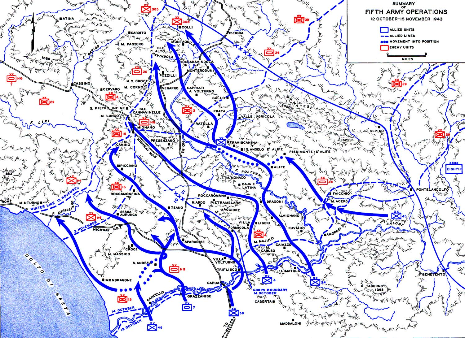 Volturno area; Fifth Army Operations 12 October to 15 November 1943. © This work is in the public domain under the terms of Title 17, Chapter 1, Section 105 of the US Code.