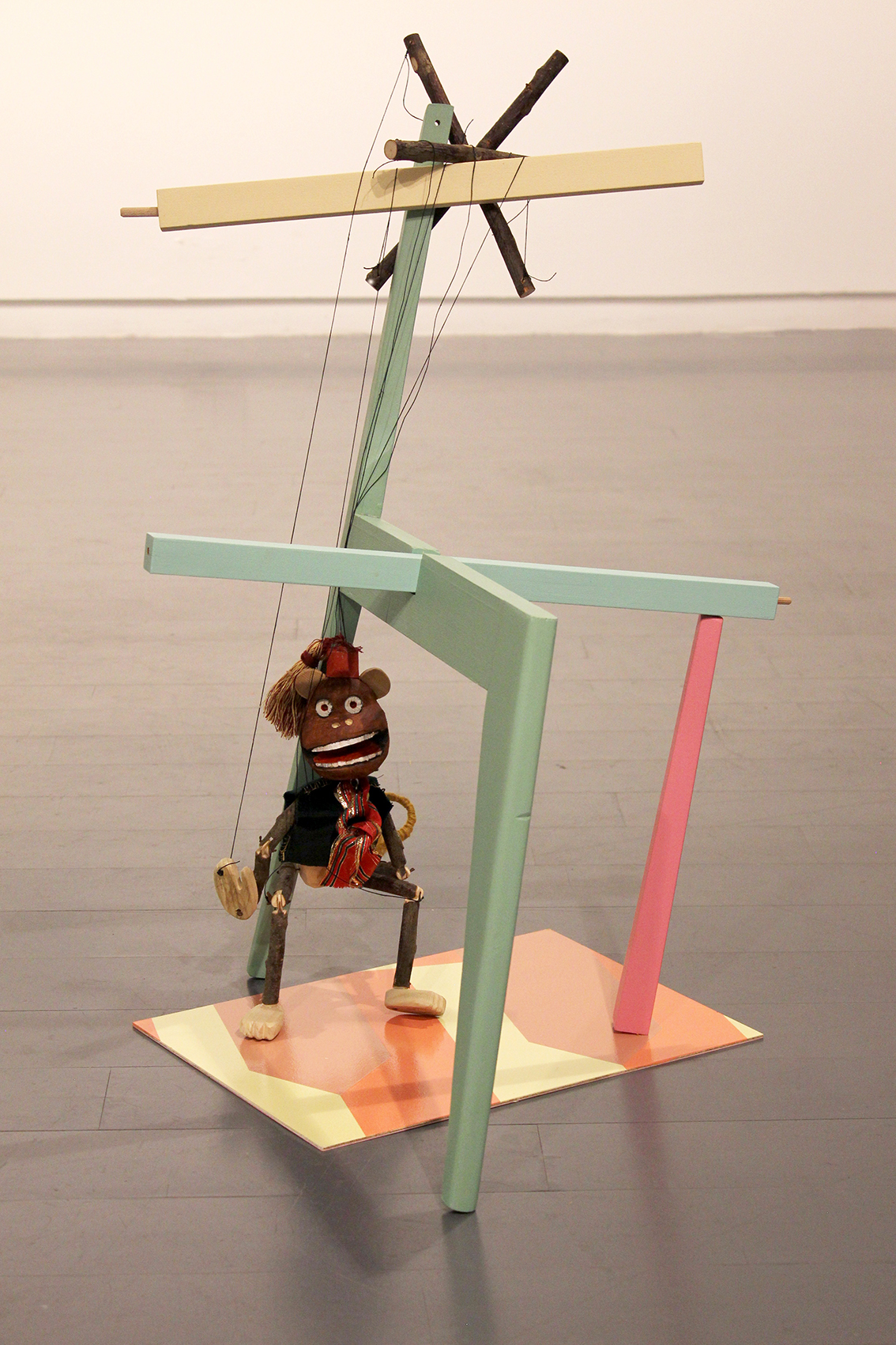 Danny Holcroft 'Monkey Puppet' Monkey puppet with chair, mixed media 80 x 60 x 50cm 2016 © Cultural Documents