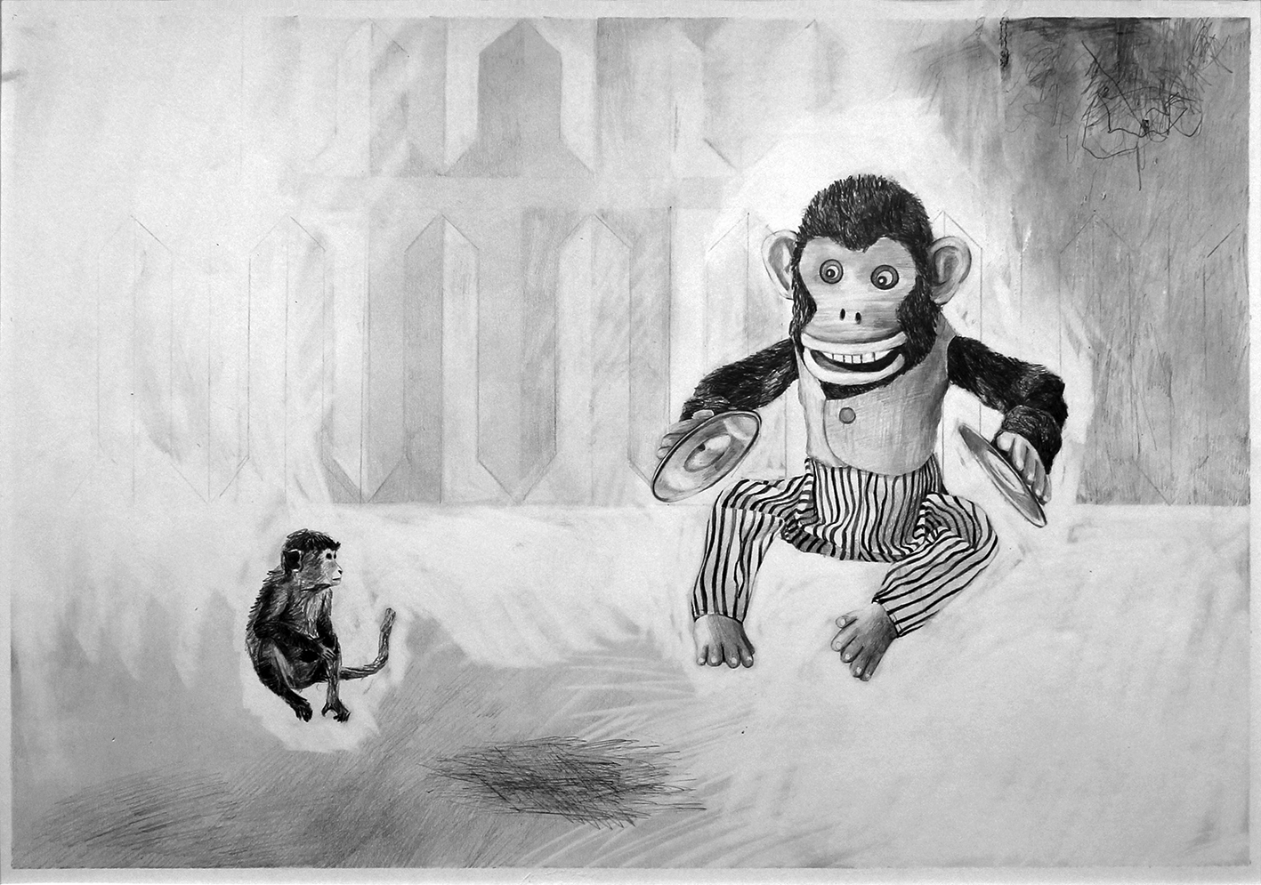 Danny Holcroft 'Two Monkeys'  pencil on paper 30 x 42cm 2016 © Cultural Documents