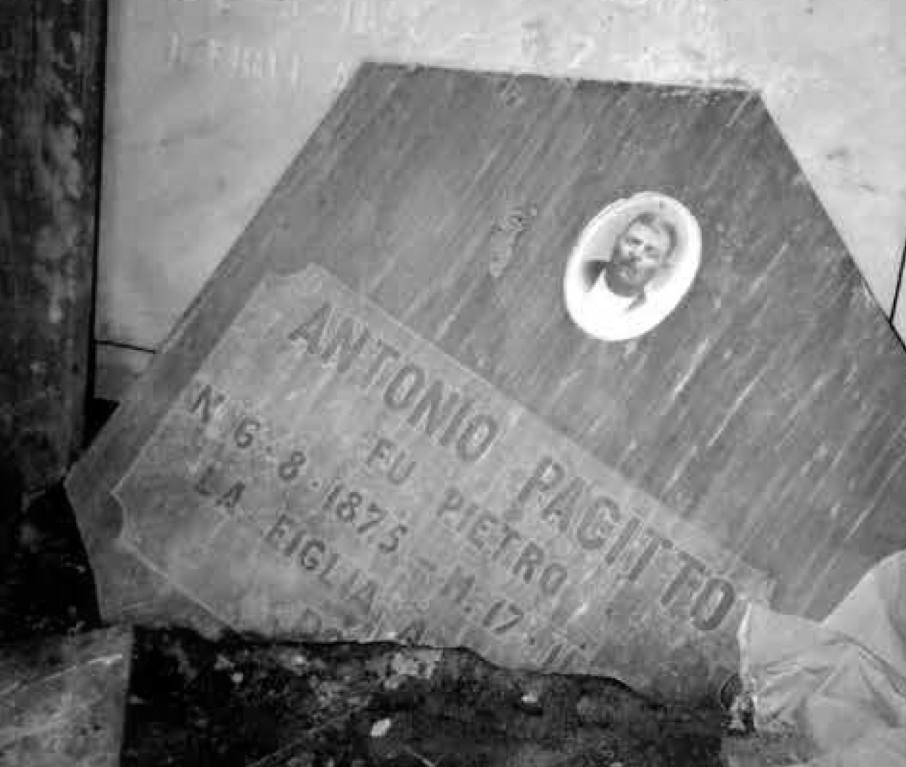Gravestone of Antonio Pacitti, Cimitero di Cerasuolo, Filignano circa 1990 © Diane Pacitti