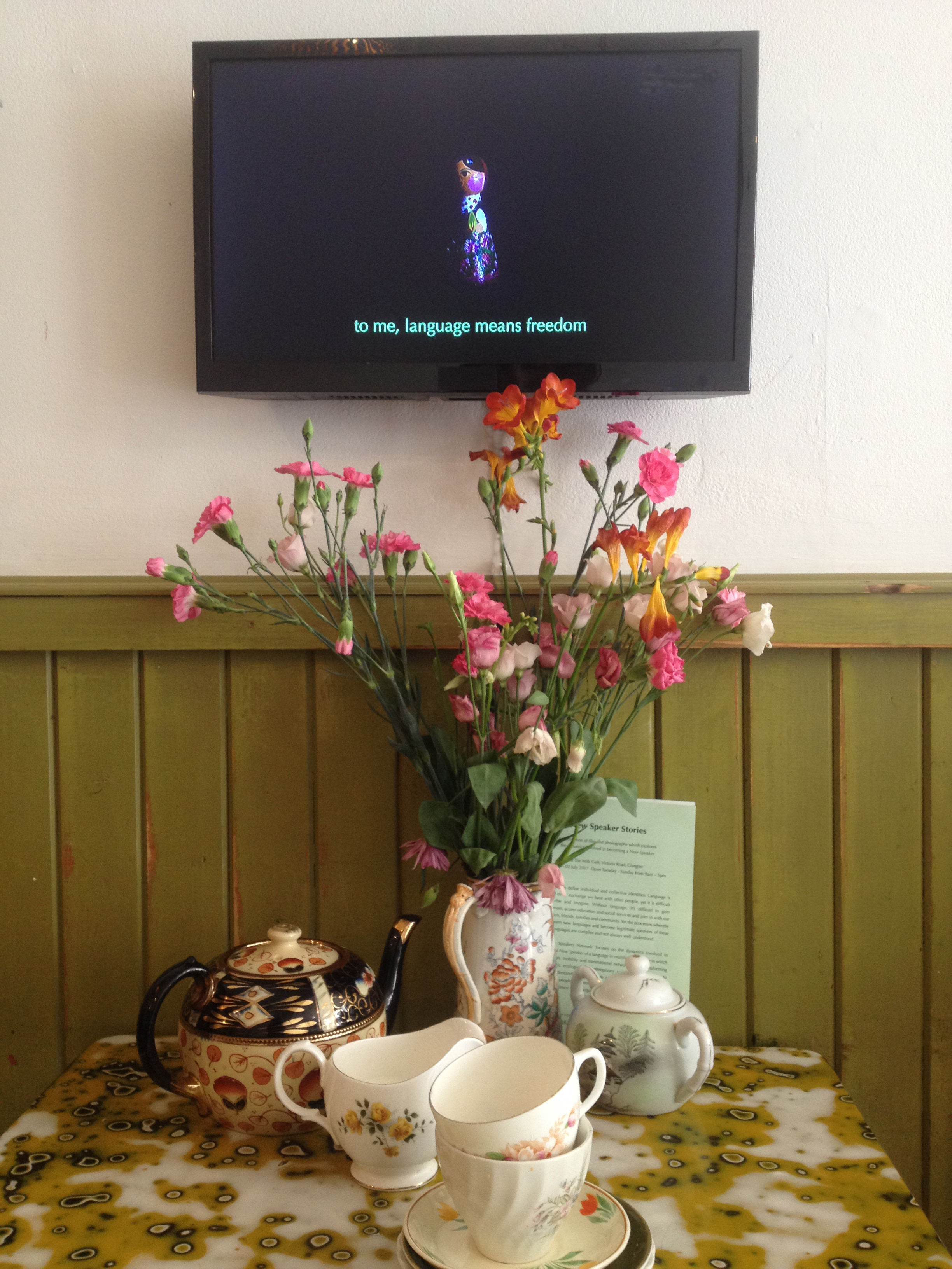 still image from the installation of 'New Speaker Stories' part fo the Refugee Festival Scotland at Milk Cafe, June/July 2017 © Cultural Documents and COST New Speakers Network