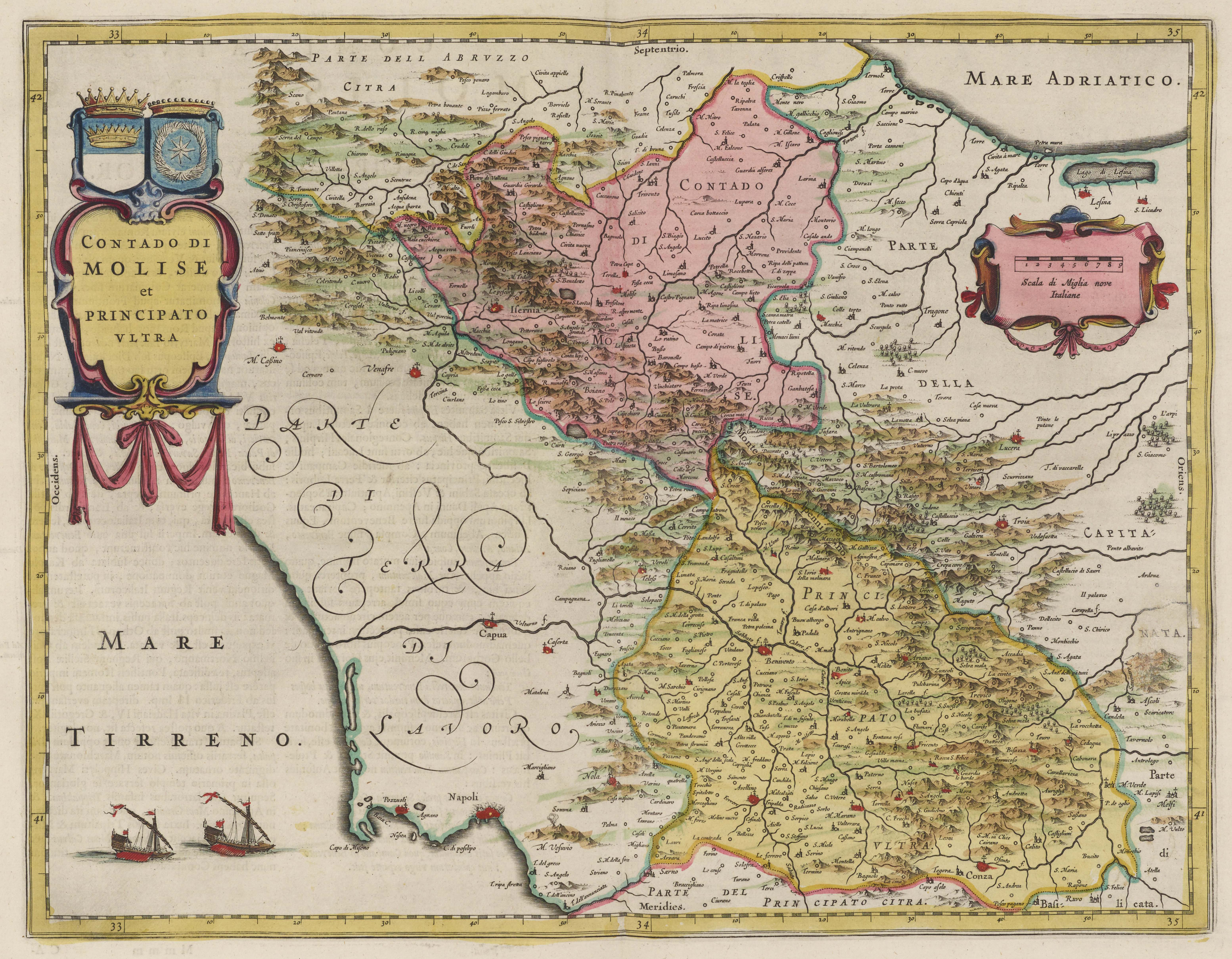 Blaeu Atlas Maior 1662 Contado Di Molise et Principato Vltra © David Rumsey Historical Map Collection and Cultural Documents