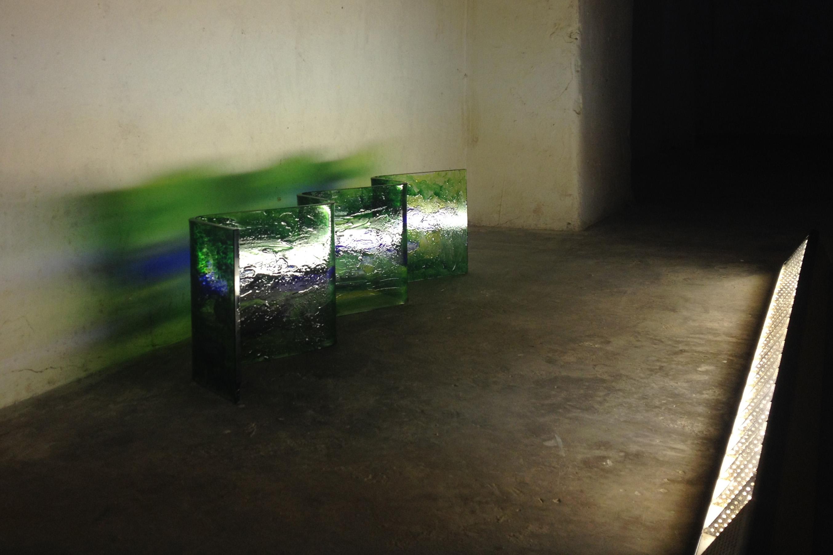 Lena Bergendahl e opere in corso per il suo progetto 'San Vincenzo' allo studio Cultural Documents a Filignano ad Agosto 2017 © Cultural Documents